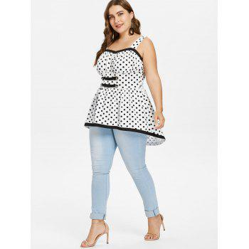 Plus Size Polka Dot High Low Hem Tank Top - WHITE 4X