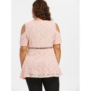 Plus Size Cold Shoulder Lace Top - LIGHT PINK 2X