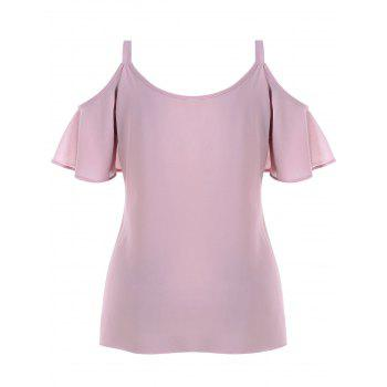 Plus Size Embroidery Open Shoulder Blouse - DEEP PINK 5X
