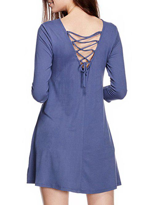 Long Sleeve Back Lace Up Mini Dress