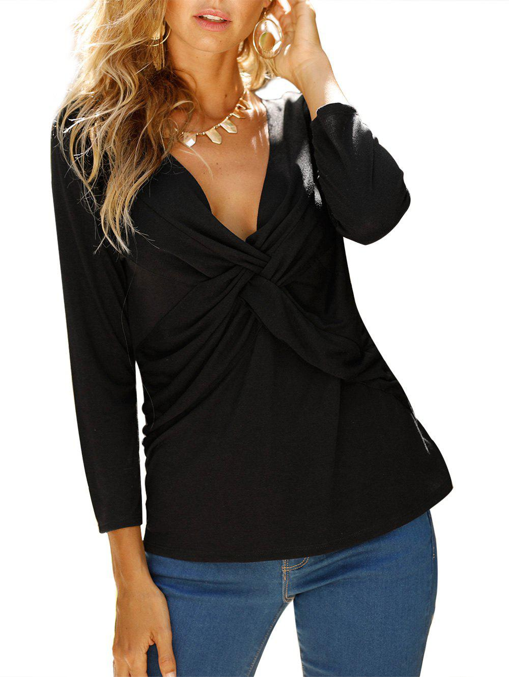 V Neck knotted Front Long Sleeve Casual Top - NIGHT L