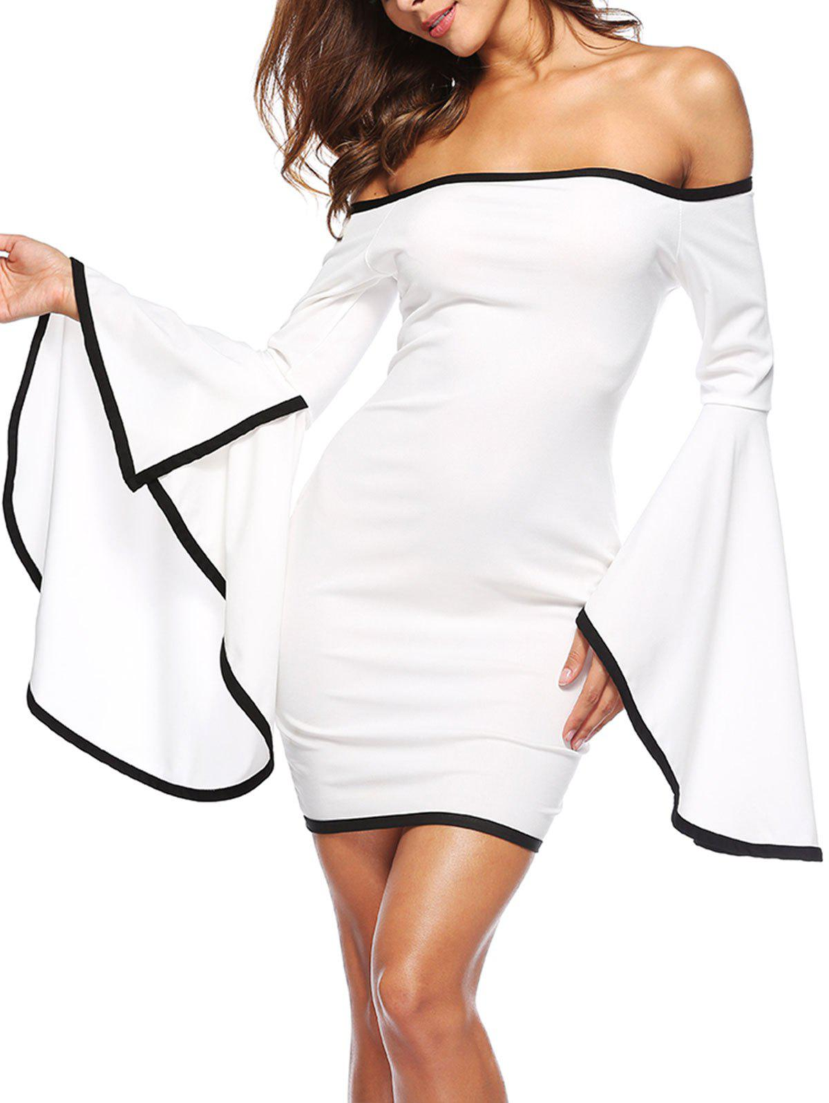 Off The Shoulder Bell Sleeve Mini Dress - WHITE L