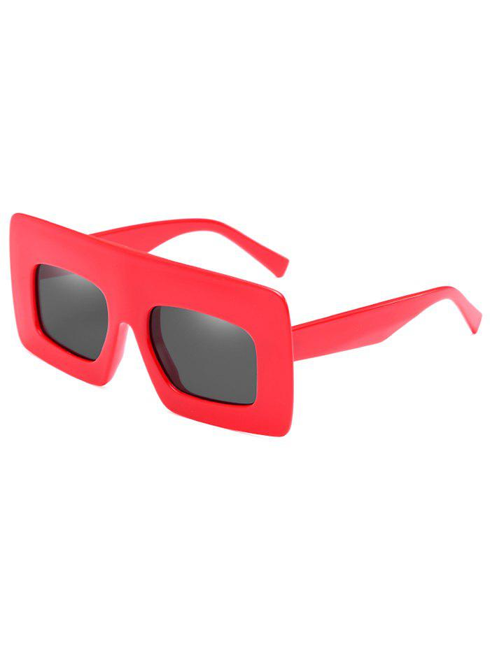 Anti UV Wide Frame Flat Lens Sunglasses - RED