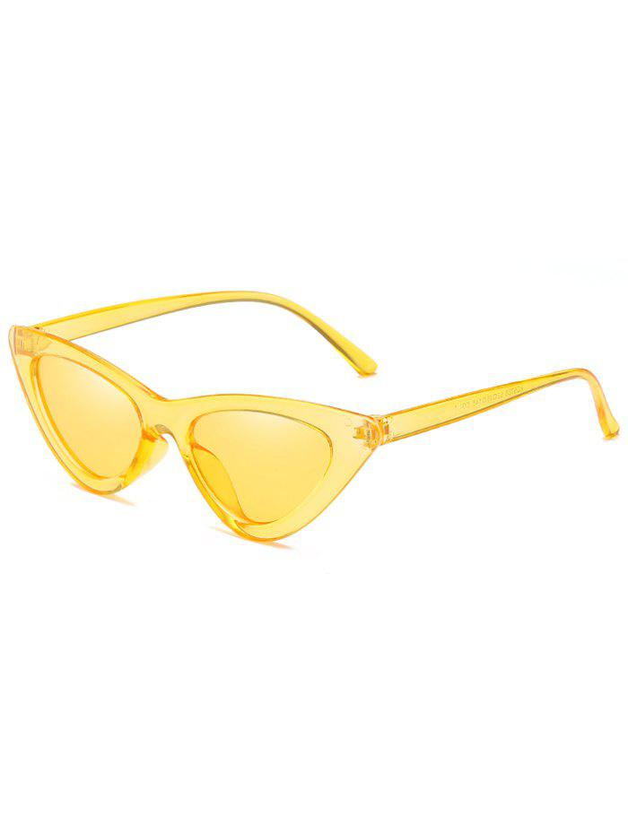 Vintage Full Frame Flat Lens Catty Sunglasses - GOLDENROD