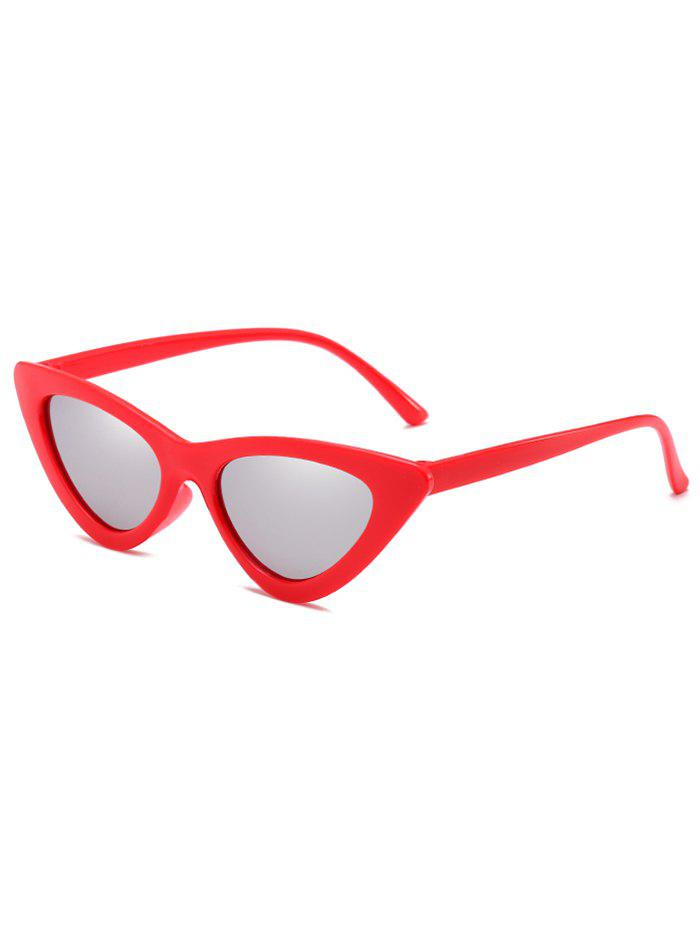 Vintage Full Frame Flat Lens Catty Sunglasses - PLATINUM