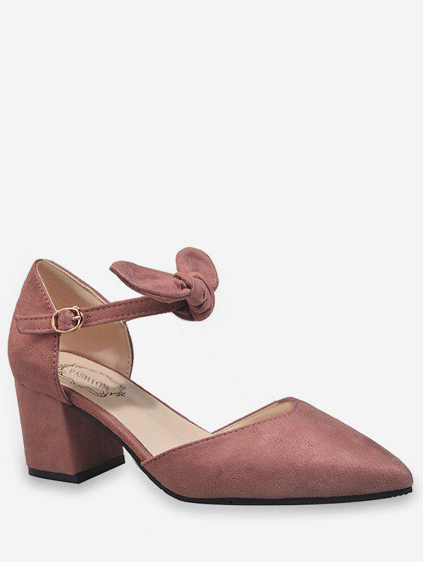 Bow Ankle Wrap Casual Pointed Toe Pumps - LIGHT PINK 39