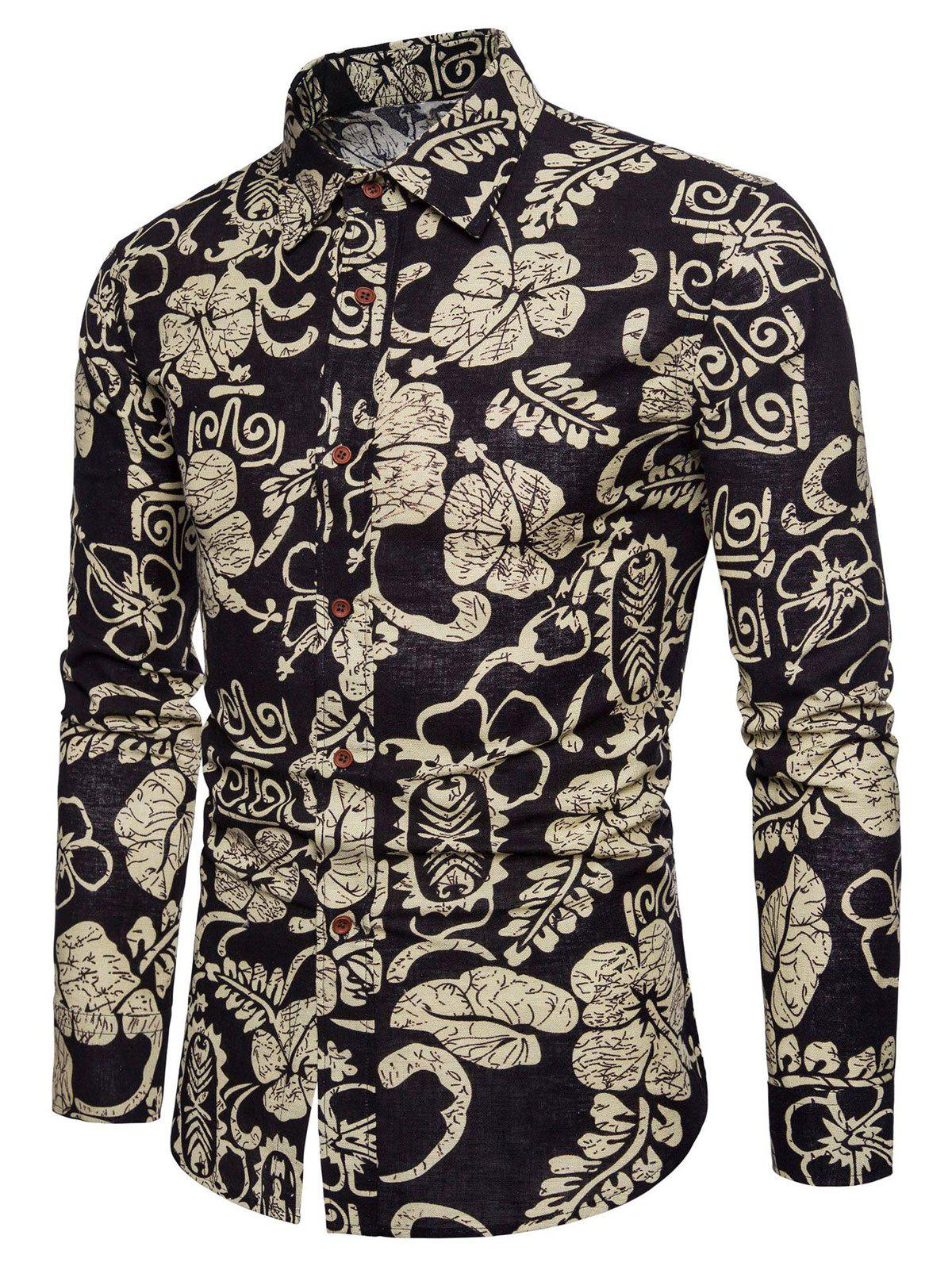 2018 ethnic floral print long sleeve button up shirt black for Floral print button up shirt