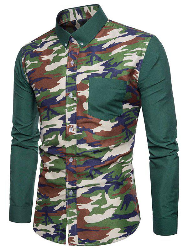 Pocket Camo Fabric Spliced Button Down Shirt - MEDIUM SEA GREEN S
