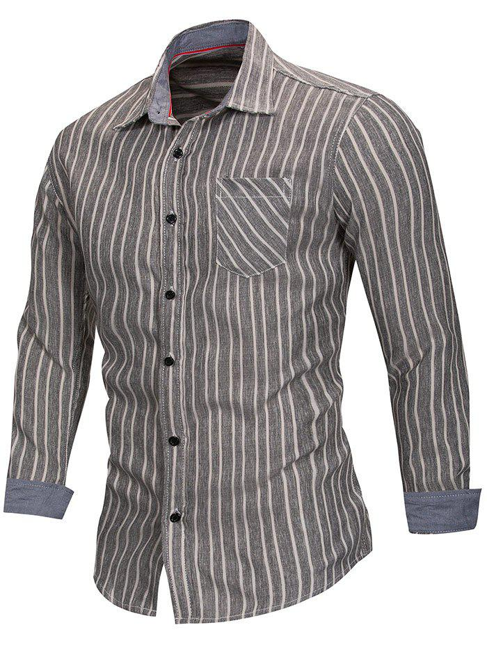 Turn Down Collar Stripe Print Shirt - BLACK XL