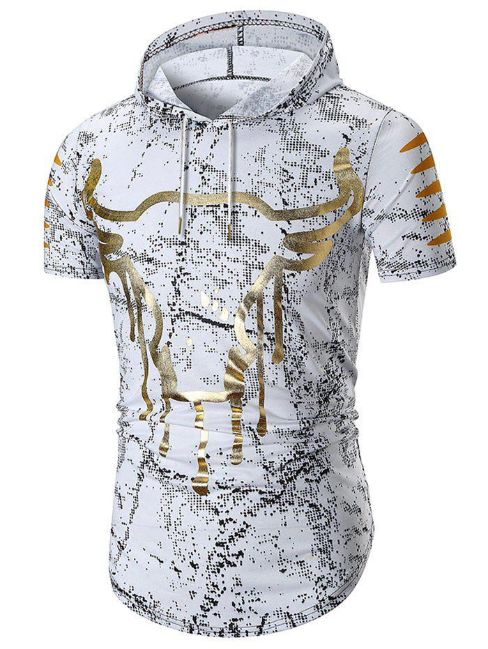 Hooded Cow Head Print Short Sleeve T-shirt - WHITE L
