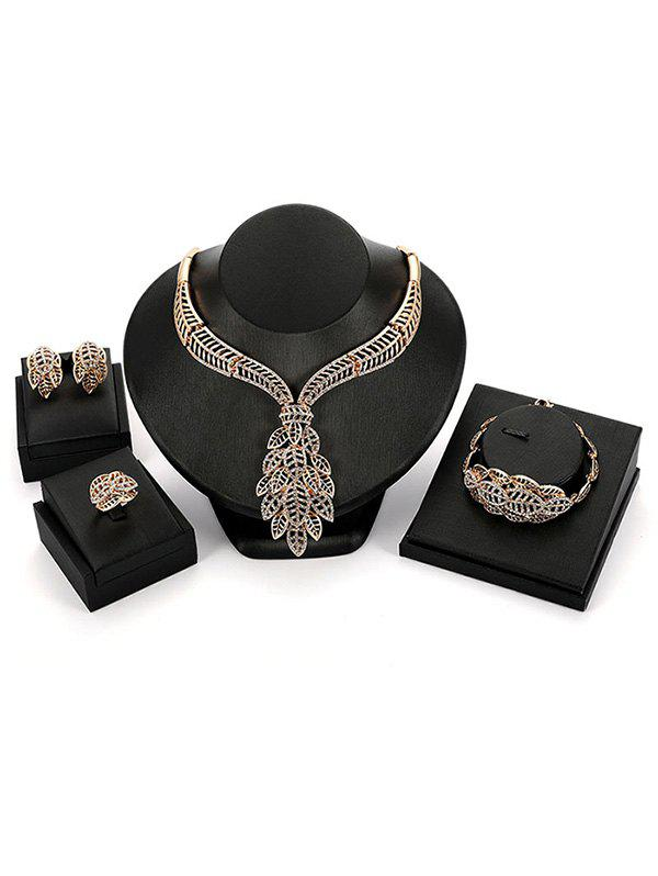 Set of Rhinestone Inlaid Leaves Wedding Jewelry - GOLD