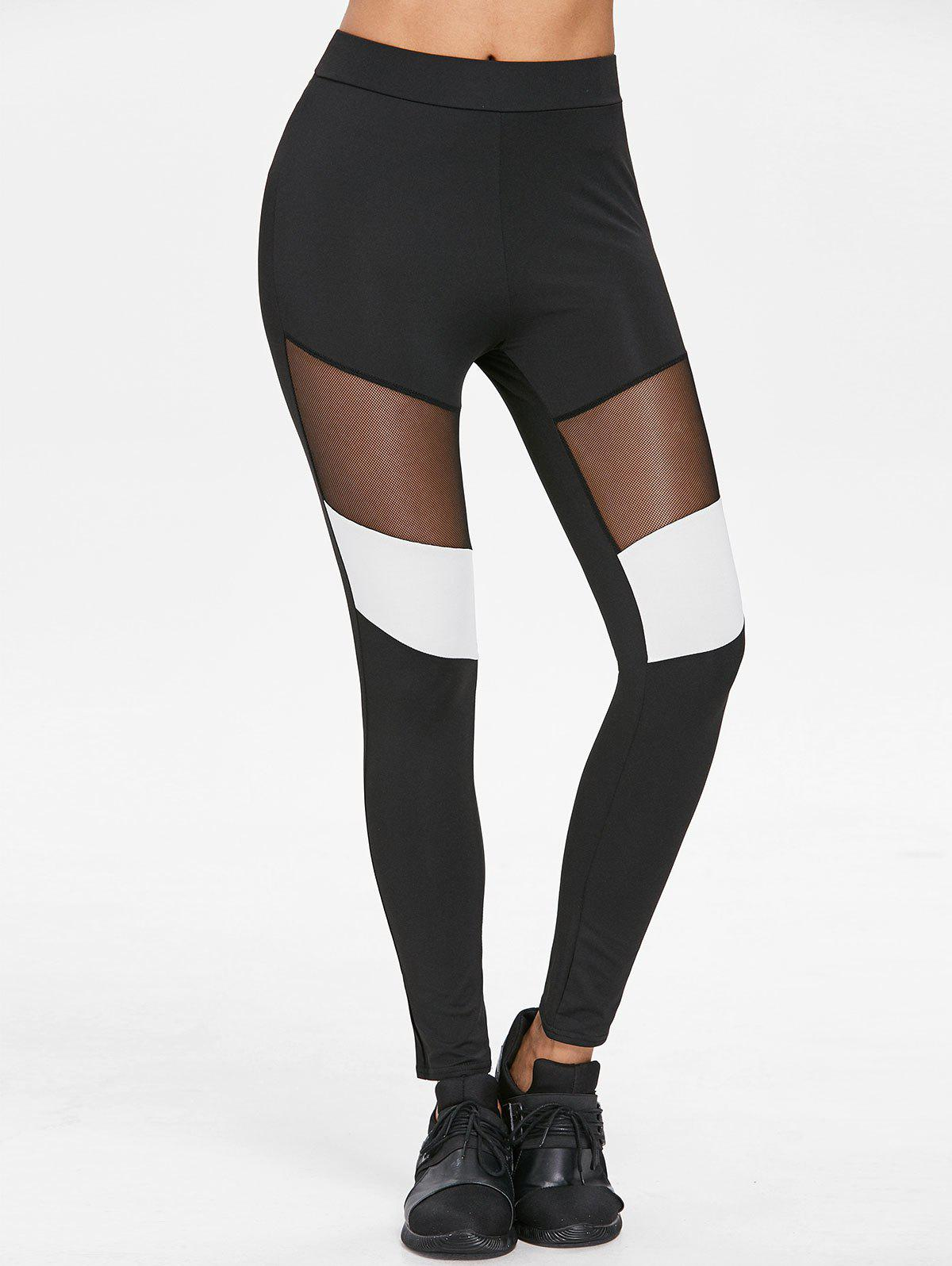 Mesh Panel Color Block Leggings - BLACK L