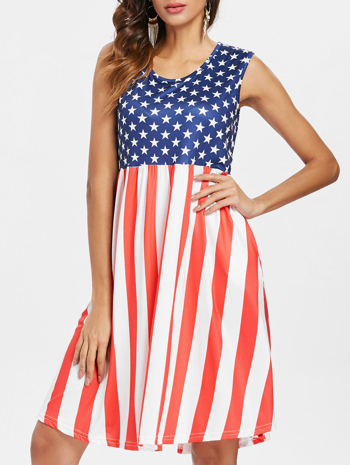 Patriotic American Flag Mid Calf Dress - multicolor XL