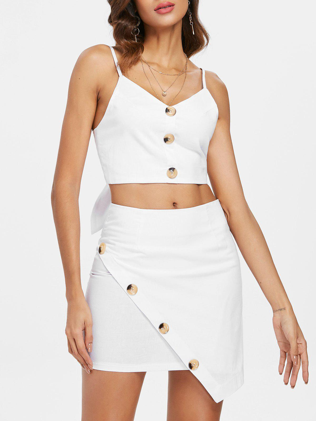 Button Insert Cami Top and Asymmetrical Mini Skirt - WHITE L