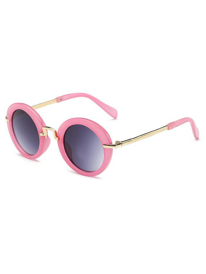 Stylish Full Frame Flat Lens Oval Sunglasses - PINK DAISY