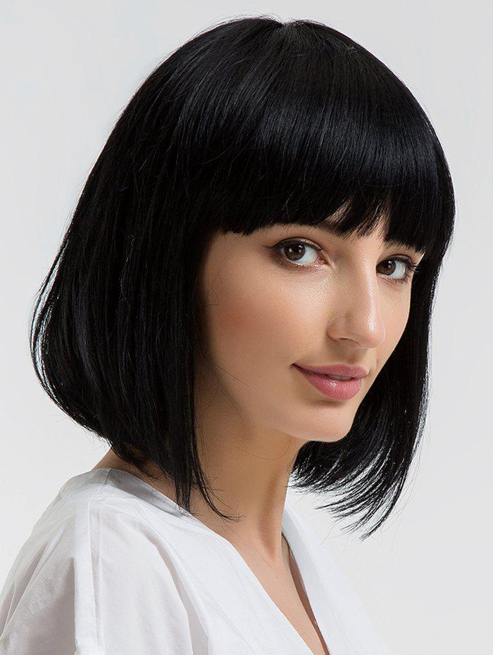 Short Neat Fringe Straight Bob Capless Human Hair Wig - BLACK