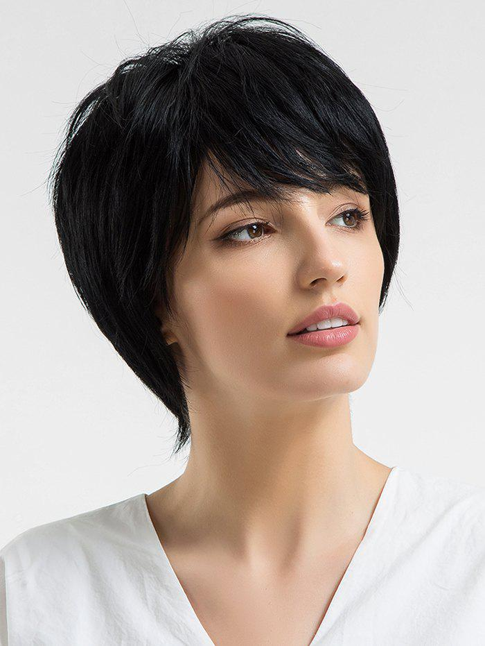 Short Inclined Fringe Capless Straight Human Hair Wig - BLACK