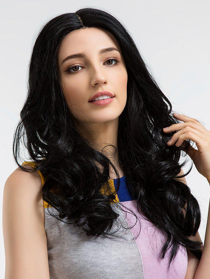 Long Center Parting Wavy Human Hair Party Wig - BLACK
