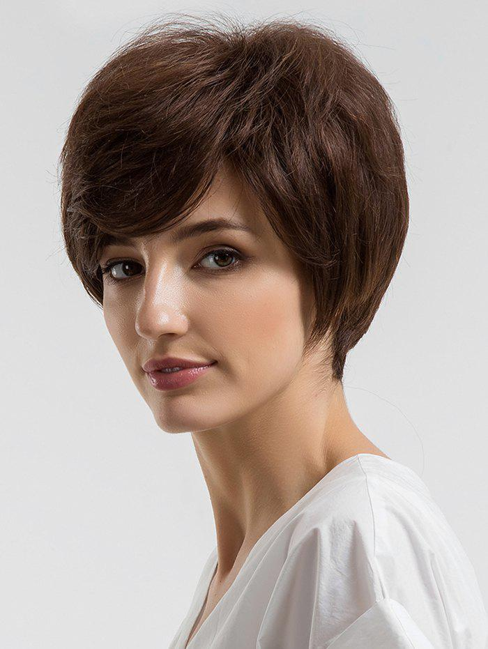 Short Capless Straight Human Hair Wig with Inclined Bang - COFFEE