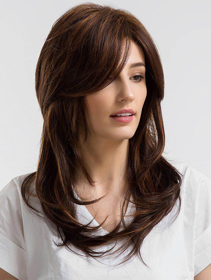 Long Inclined Fringe Slightly Curly Capless Human Hair Wig - COFFEE