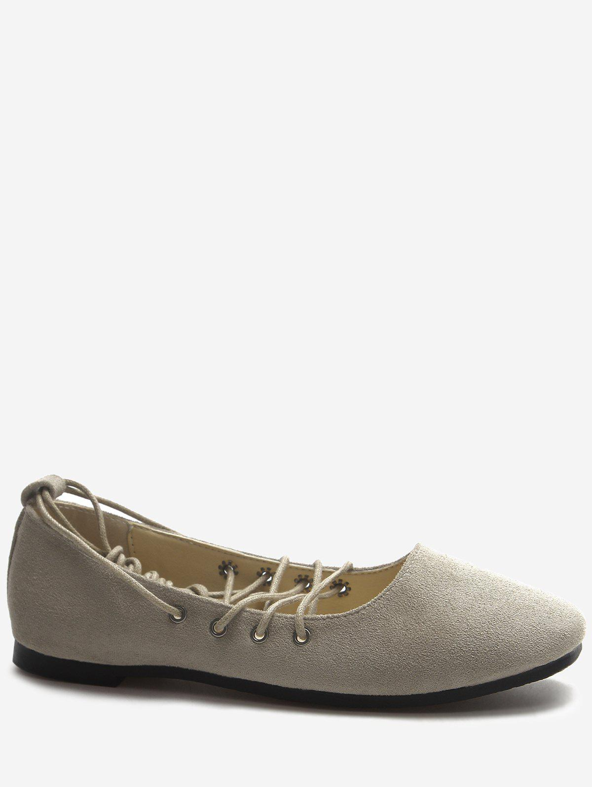 Crisscross Casual Lace Up Ballerina Flats - LIGHT GRAY 38