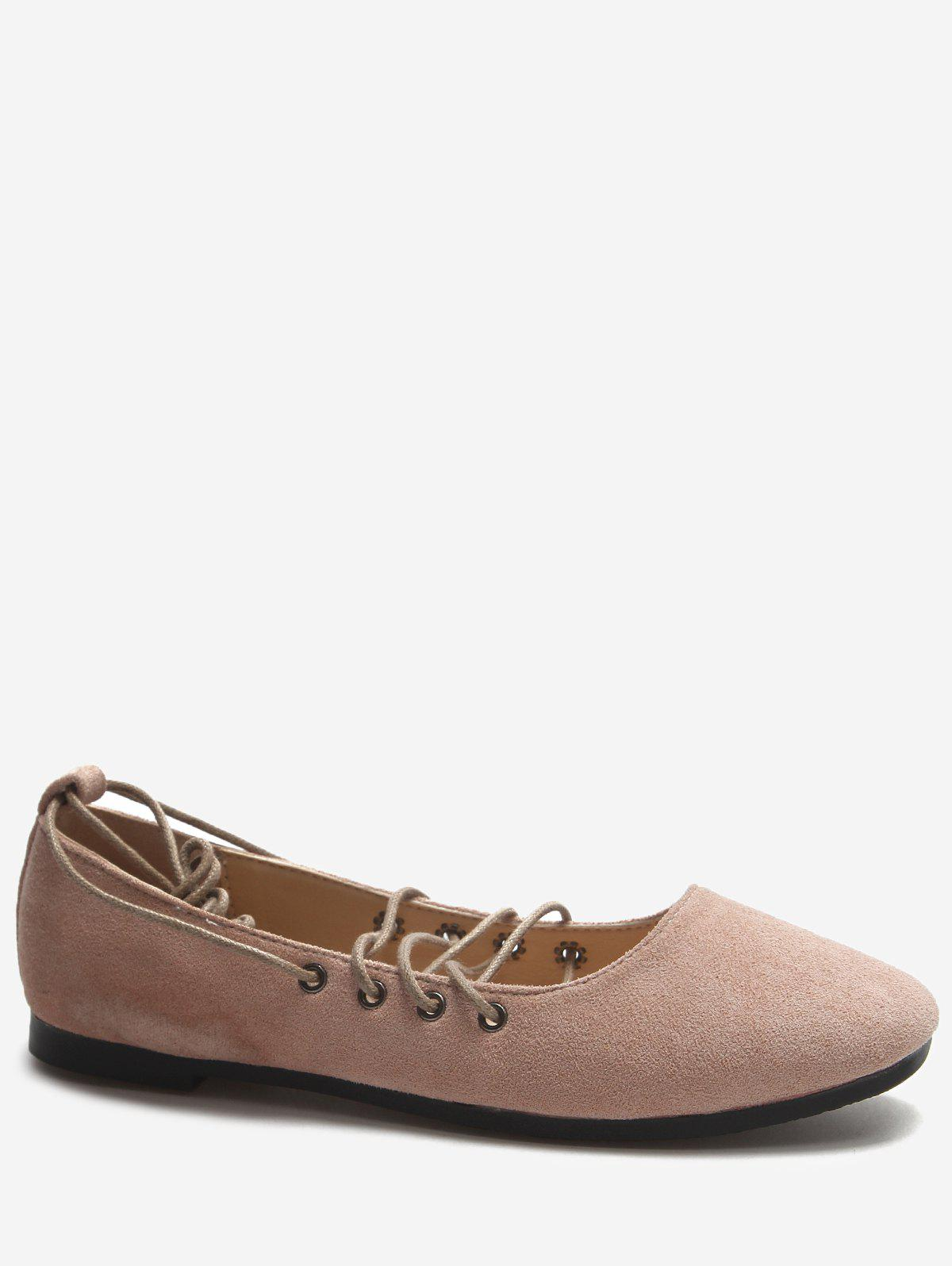 Crisscross Casual Lace Up Ballerina Flats - LIGHT PINK 38