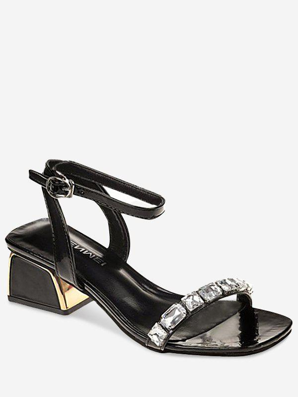 Low Heel Dazzling Rhinestone Chic Sandals - BLACK 39