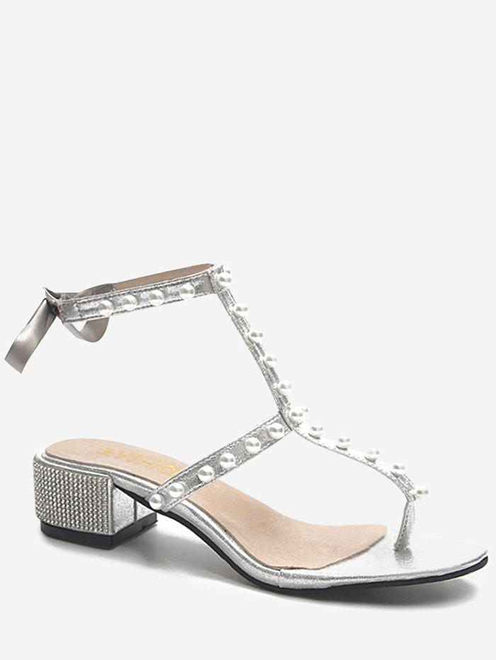 Crystals Block Heel T Strap Faux Pearl Party Thong Sandals - SILVER 38