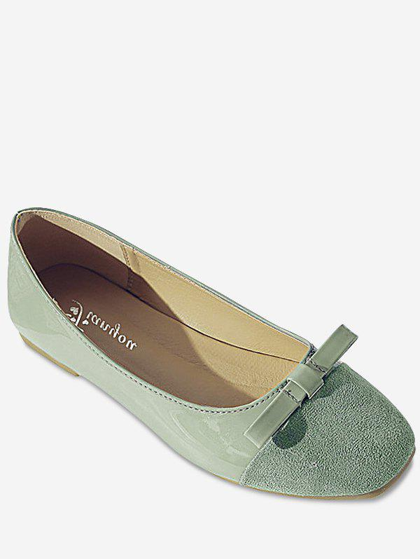 Leisure Slip On Ballerina Bowknot Flats - GREEN 38