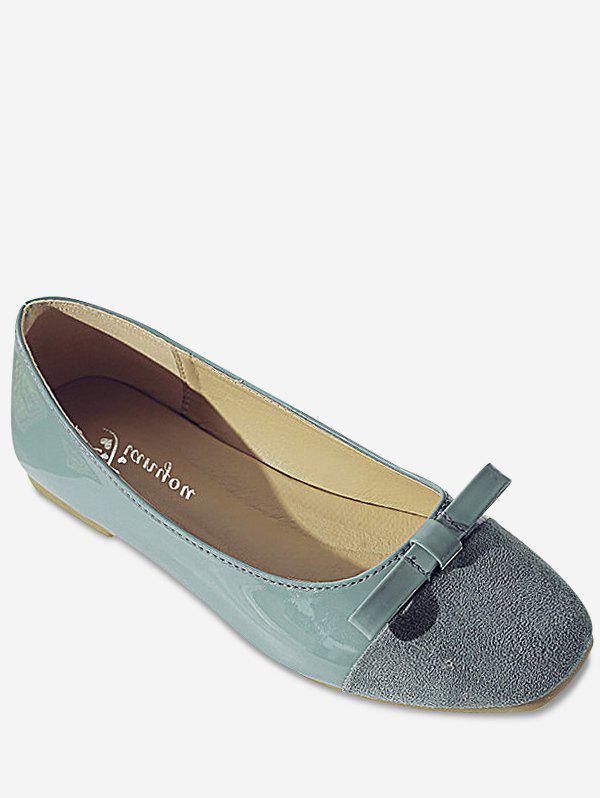 Leisure Slip On Ballerina Bowknot Flats - BLUE 38