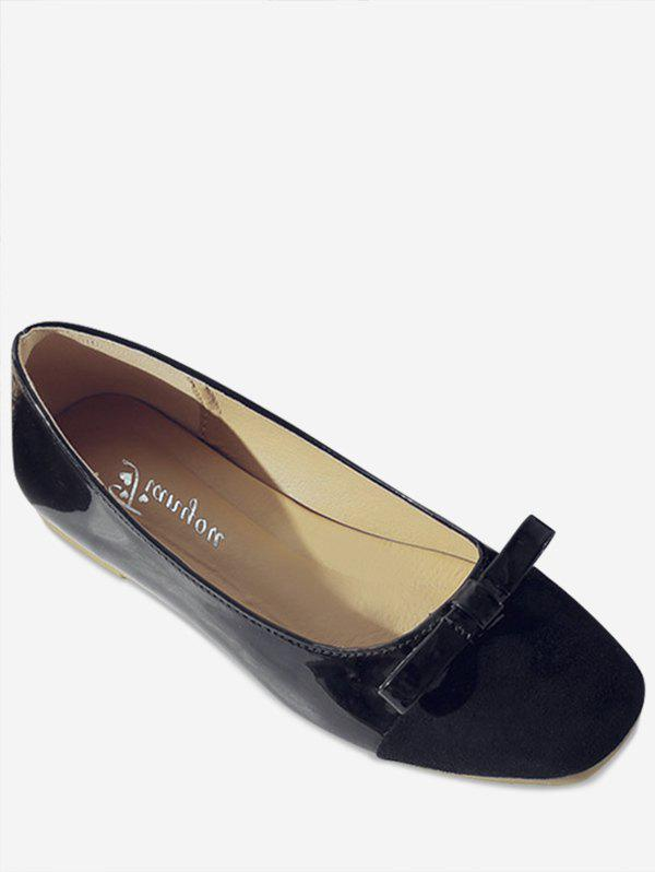 Leisure Slip On Ballerina Bowknot Flats - BLACK 36