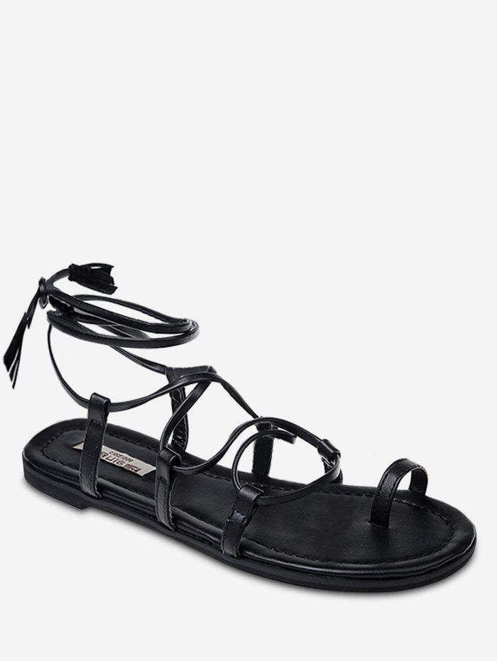 Cross Strap Tassel Embellished Lace Up Thong Sandals, Black