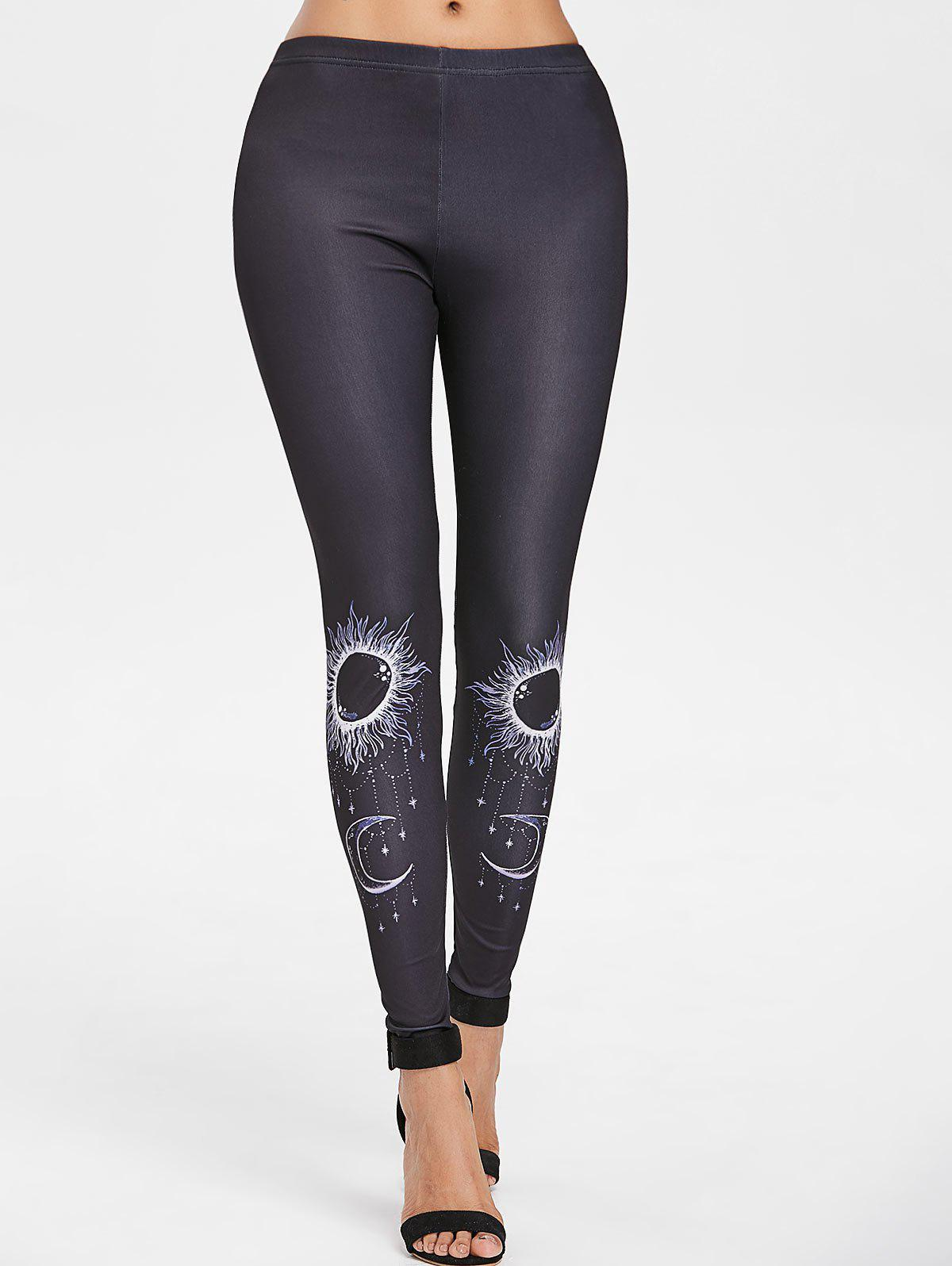 Tribal Totem Printed Workout Leggings - BLACK XL