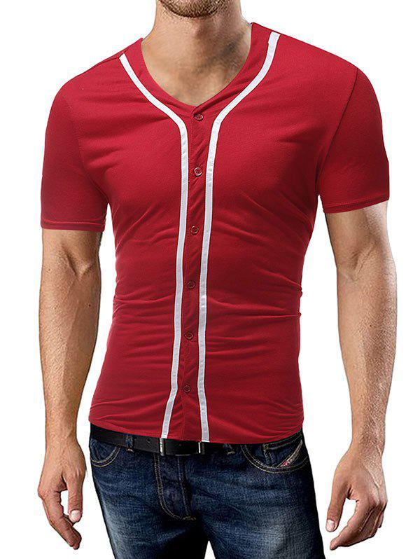 Striped Button Up Tee Shirt - RED XL