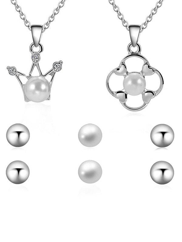 Artificial Pearl Necklace With Stud Earrings - SILVER