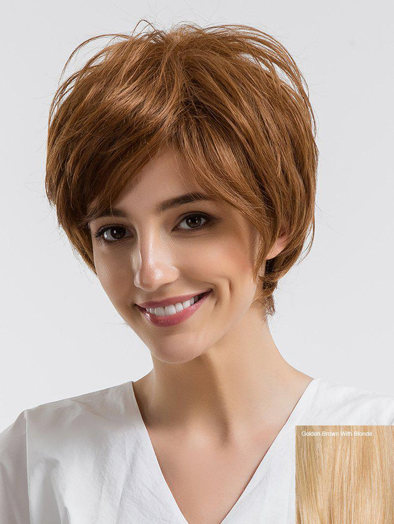 Short Oblique Bang Straight Real Natural Hair Wig - multicolor D