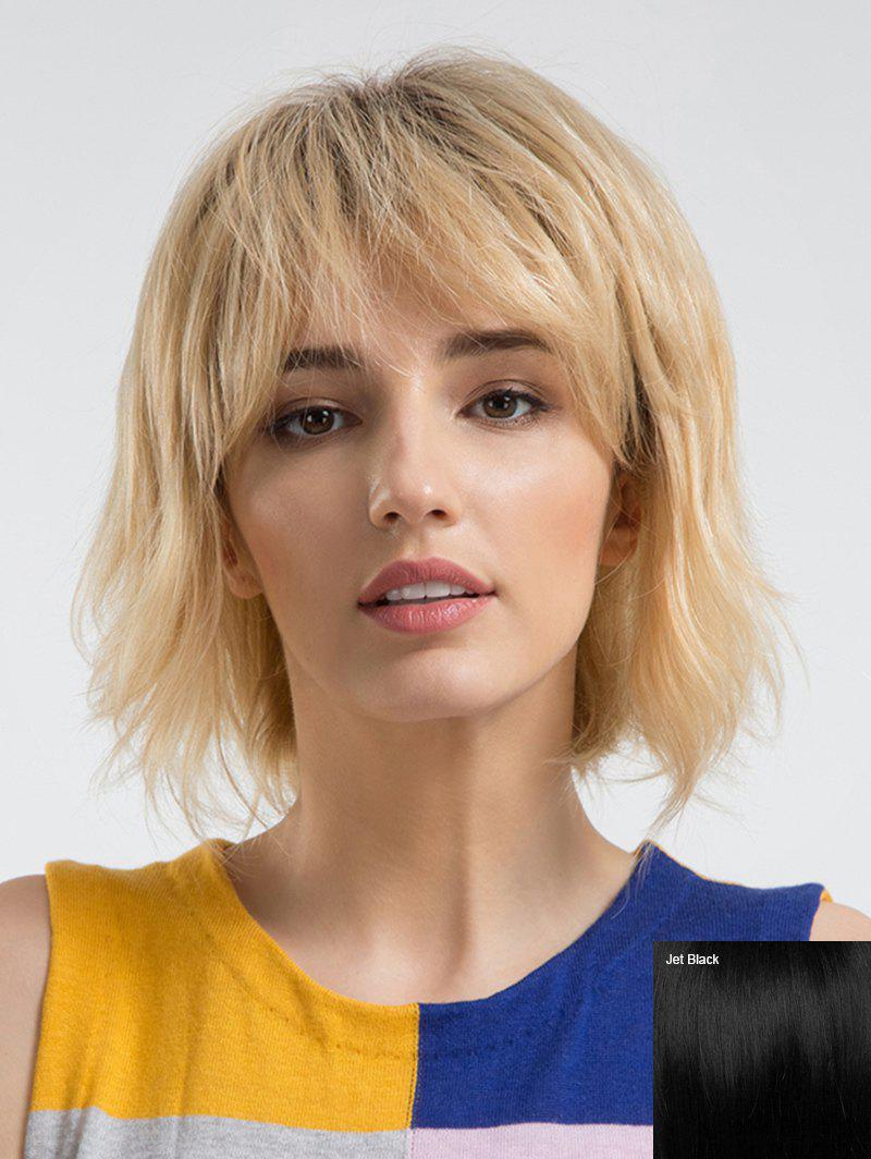 Short Inclined Fringe Party Human Hair Straight Wig - JET BLACK
