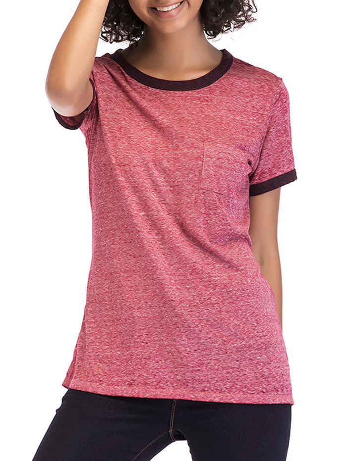 Round Neck Short Sleeve Basic Tee - BLUSH RED S