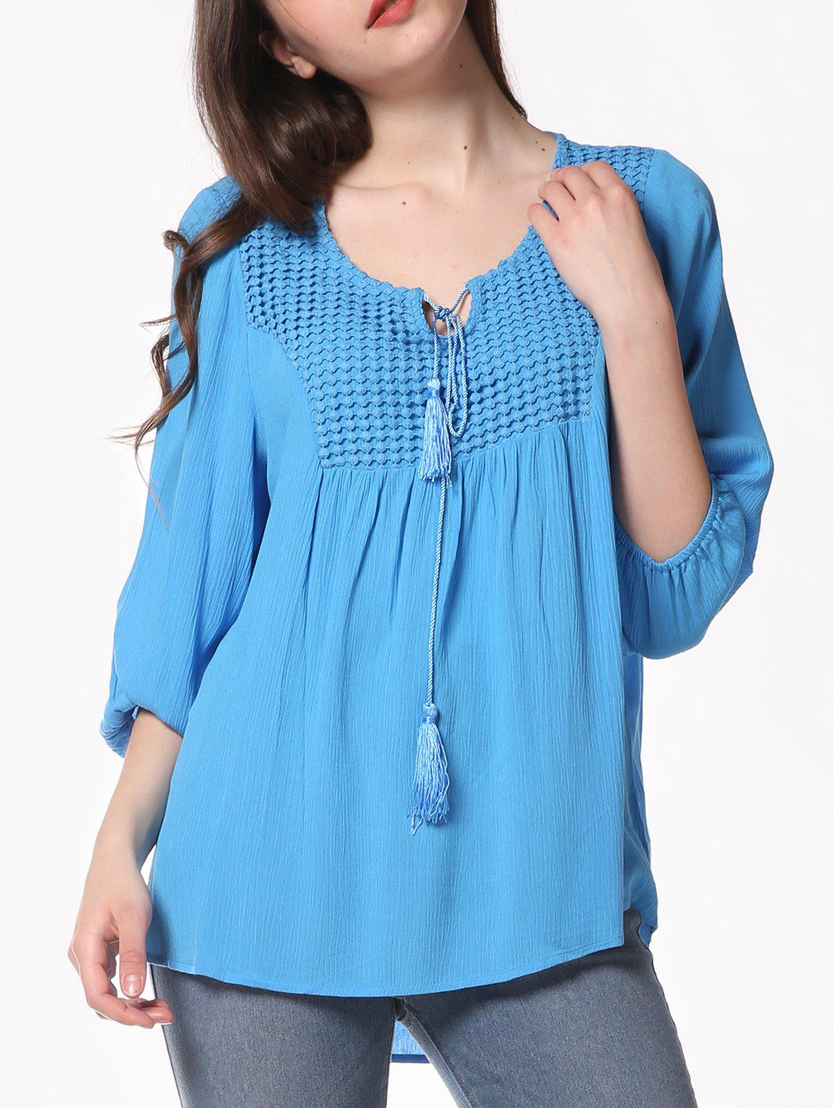 Pleated Long Sleeve Casual Blouse - BUTTERFLY BLUE S