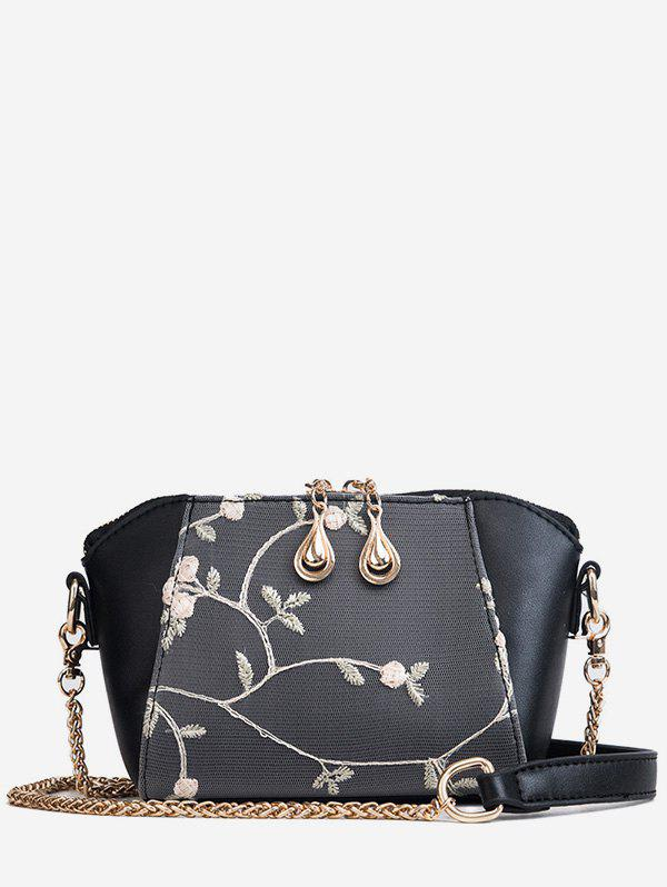 Metal Chain Floral Decorated Fairy Sling Bag - BLACK