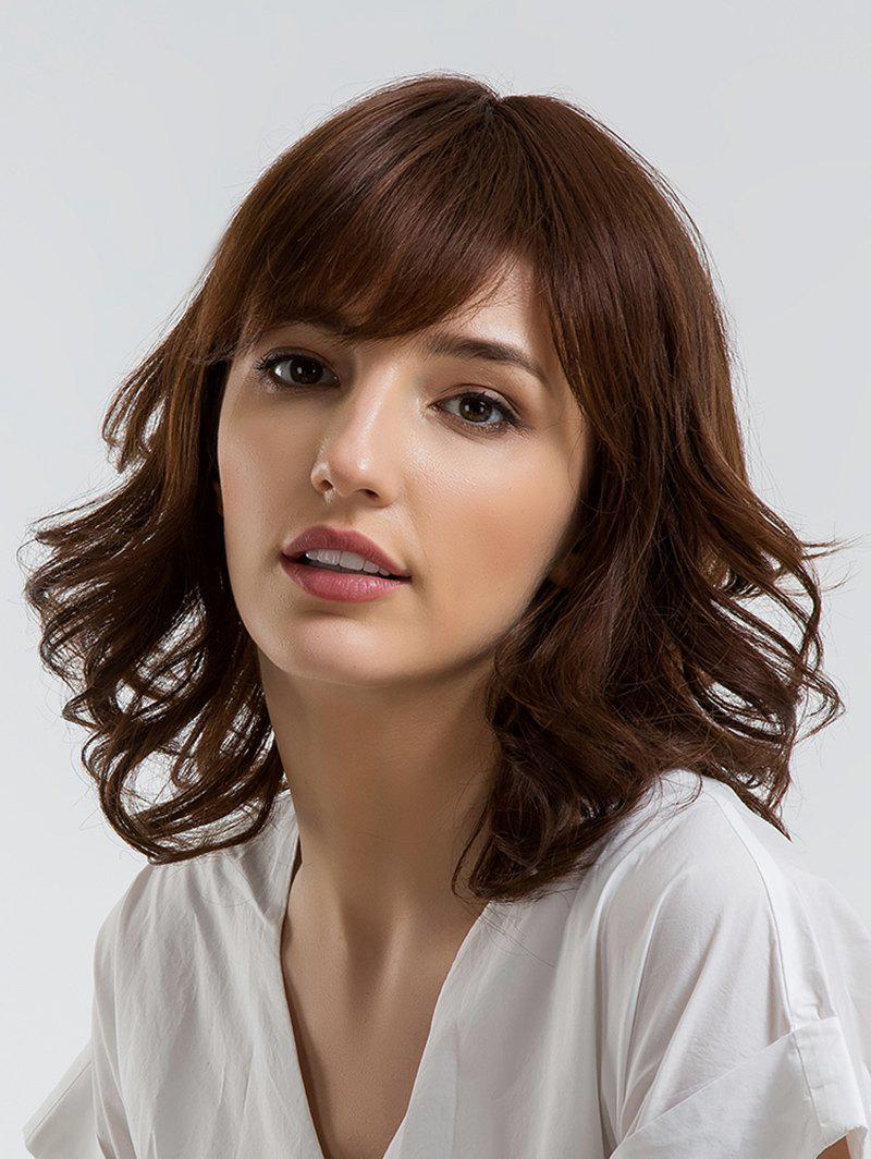 Medium Inclined Bang Wavy Party Human Hair Wig - COFFEE