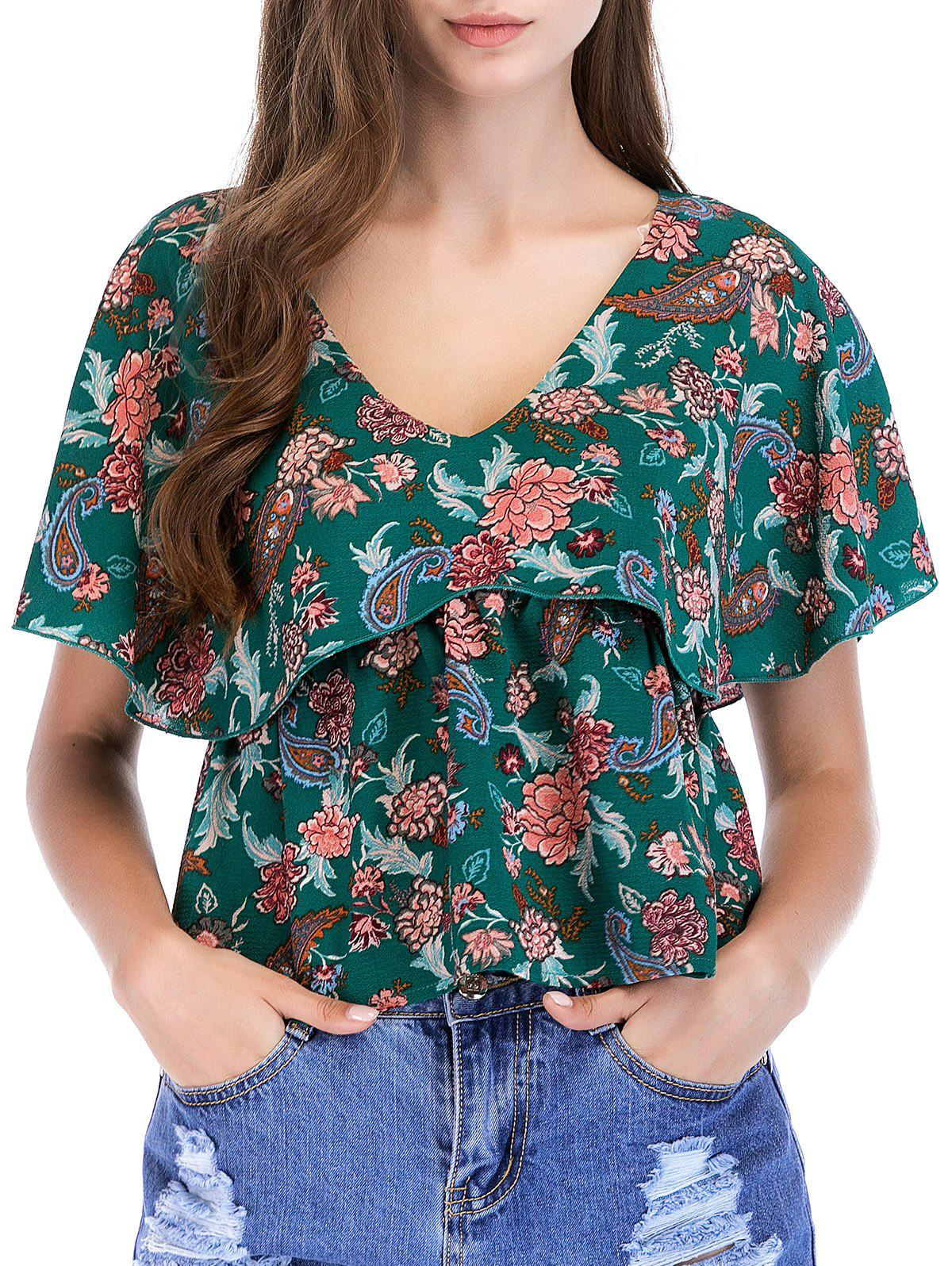 Ruffle Sleeve Floral Print Casual Blouse - multicolor A XL