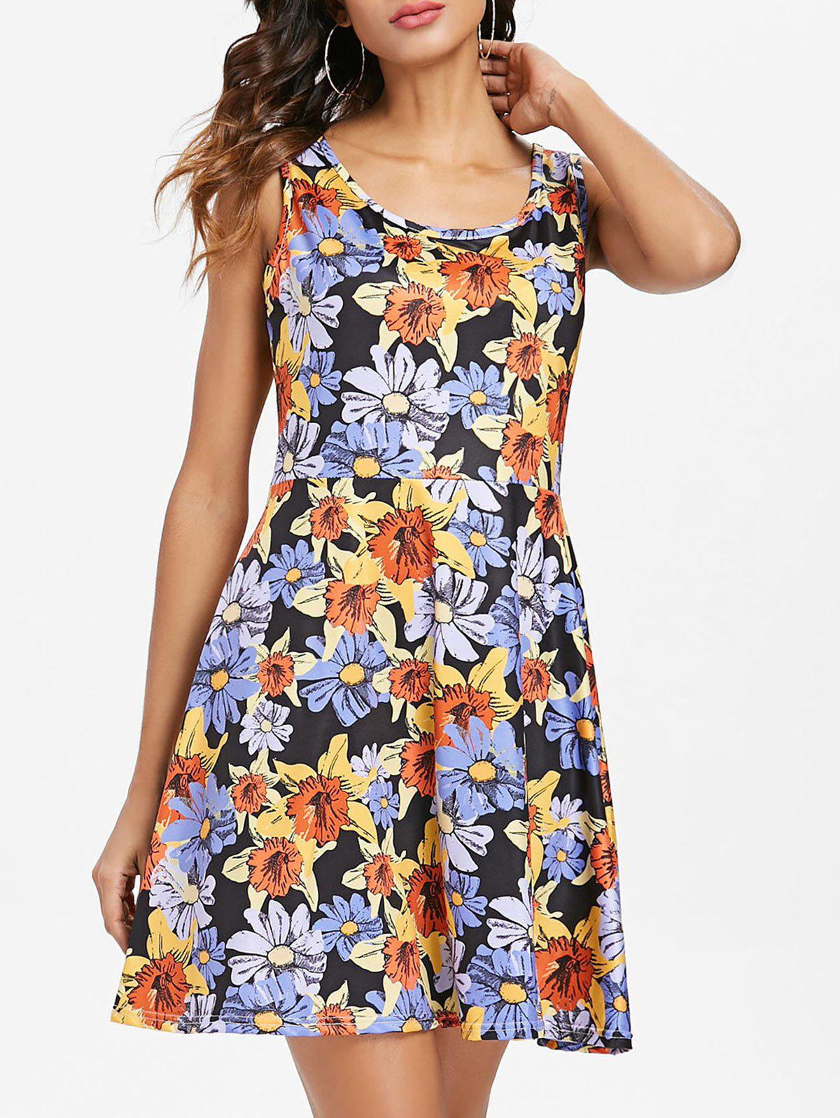 Sleeveless Floral Pattern Mini Dress - multicolor L