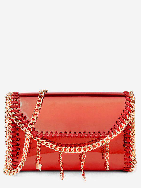 Shimmering Whipstitch Flapped Chain Sling Bag - FIRE ENGINE RED