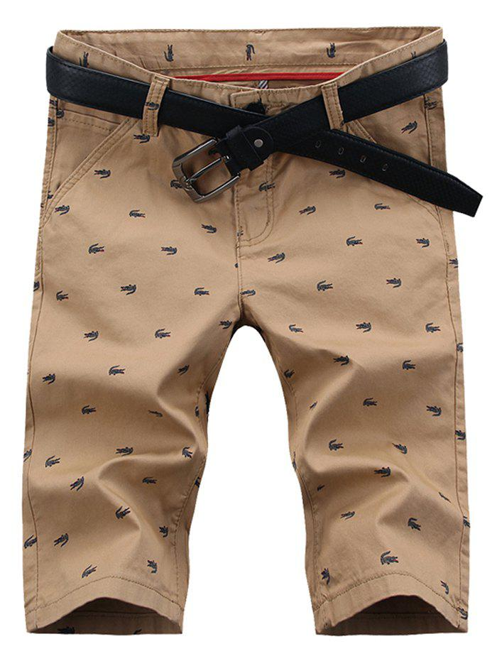 Zipper Fly Allover Print Five-pocket Bermuda Shorts - LIGHT KHAKI 38