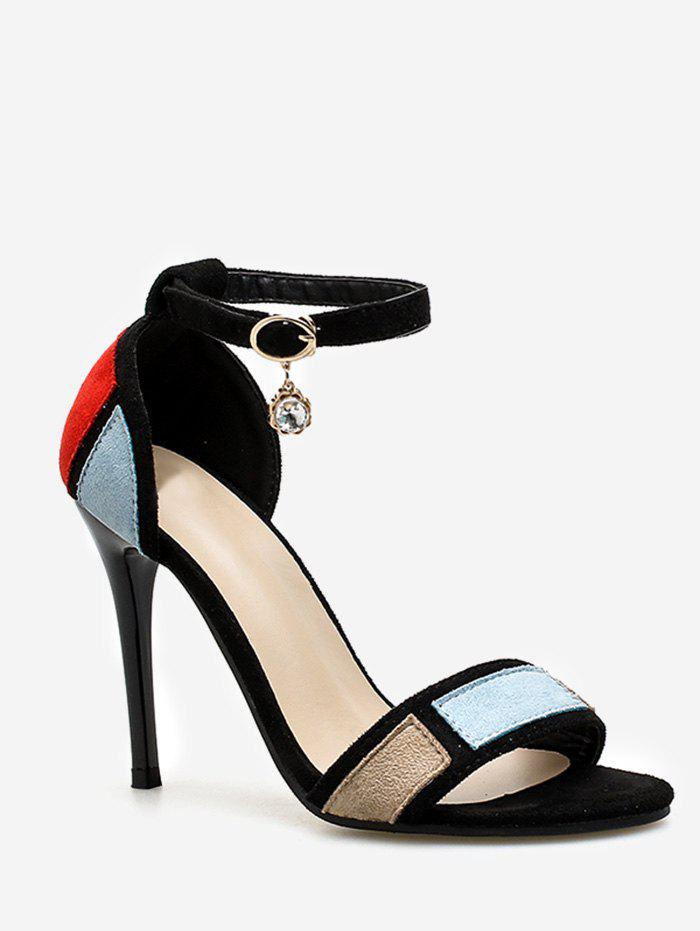 Chic Stiletto Heel One Strap Color Block Sandals for Party - SKY BLUE 38