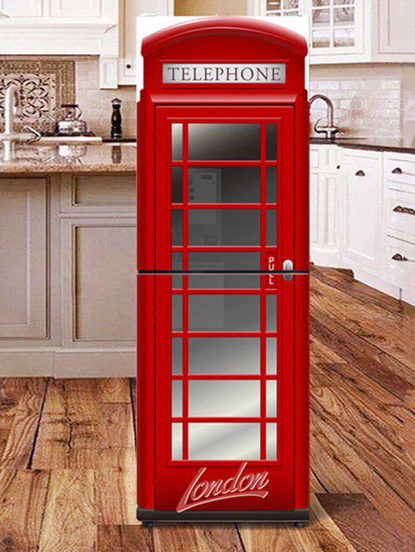 Telephone Booth Print DIY Fridge Cover Sticker - RED 1PC:24*59 INCH( NO FRAME )