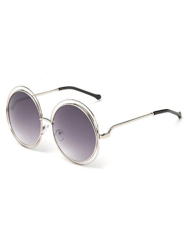 Anti UV Hollow Out Frame Circle Sunglasses - GRAY