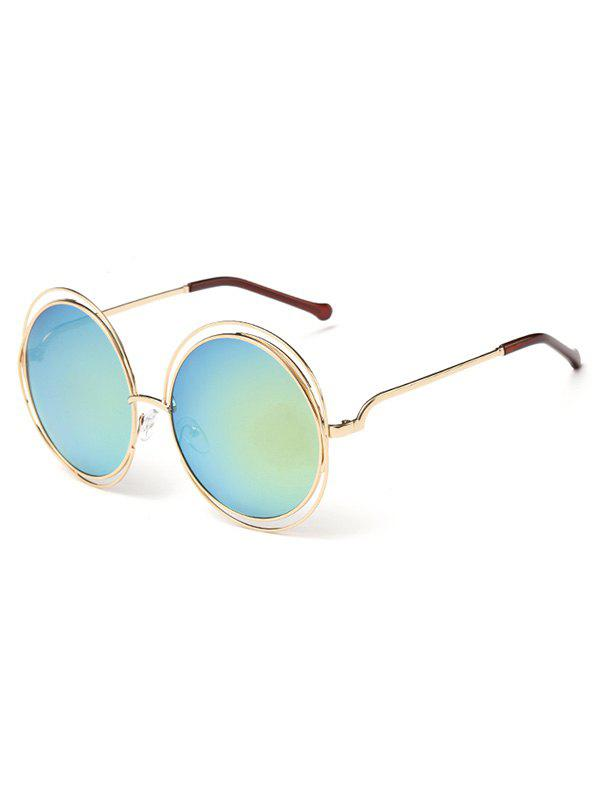 Anti UV Hollow Out Frame Circle Sunglasses - MACAW BLUE GREEN