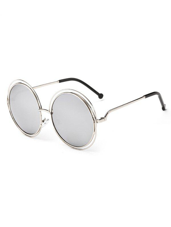 Anti UV Hollow Out Frame Circle Sunglasses - SILVER